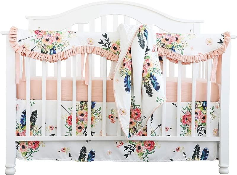 Sahaler Crib Rail Guard Set Boho Floral Nursery Baby Bedding Ruffled Crib Skirt Crib Rail Cover Set Ruffle Feather Floral