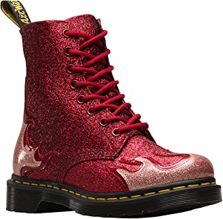 Dr. Martens Women's 1460 Pascal Flame Coated Glitter Lace Up Boot Red