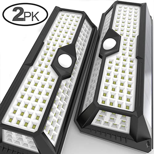 MagicPro Solar Lights Motion Sensor Solar Powered Light - 136 LED Outdoor Security Lighting for Porch, Garden, Driveway, Energy Saving, Durable and Waterproof White Light 2PK product image