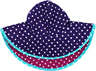 RuffleButts Baby/Toddler Girls UPF 50+ Sun Protective Wide Brim Reversible Swimwear Sun Hat