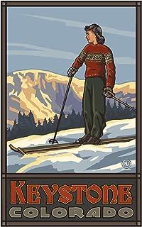 Keystone Colorado Girl Skier Standing Sunset Travel Art Print Poster by Paul A. Lanquist (12