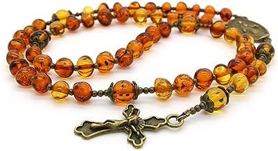 Genuine Baltic Amber Catholic Prayer Rosary with Crucifix Cross