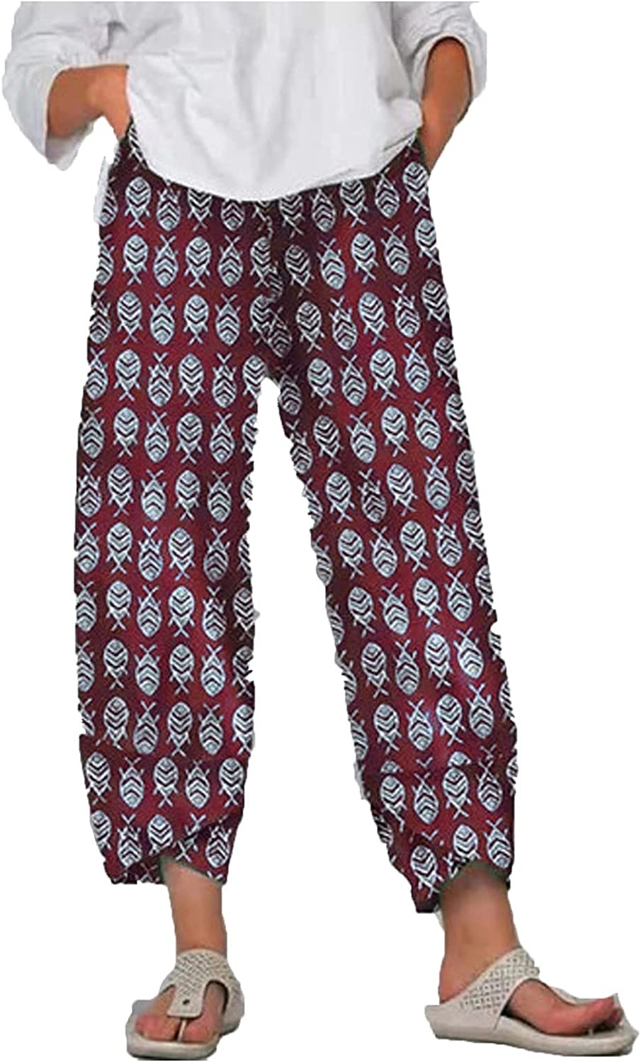 Uninevp Casual Pants for Women Loose fit Lightweight Elastic Waist Summer Flowers Print Cropped Pants Wide Leg Trousers