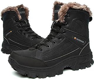 Grote Maat Heren Snowboots Winter Warm Enkel Volledig Bont Gevoerd Antislip Leer Werk Wandelen Wandelen Outdoor,Black-42