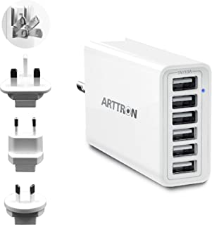 USB Wall Charger, Arttron 60W 6-Port USB Charging Station for iPhone Xs/Max/XR/X/8/7/Plus, iPad Pro/Air 2/Mini/iPod, Samsung Galaxy S9/S8/S7/Edge/Plus, Note, LG, HTC, and More(Black)