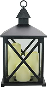 "Northlight 12.5"" Black Candle Lantern with 3 Flameless LED Candle"