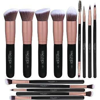 Makeupbox 14 Brochas de maquillaje kabuki Rose Gold Profesionales Gran Aplicación Suaves y Firmes%100 Veganas y cruelty fre (Negro)