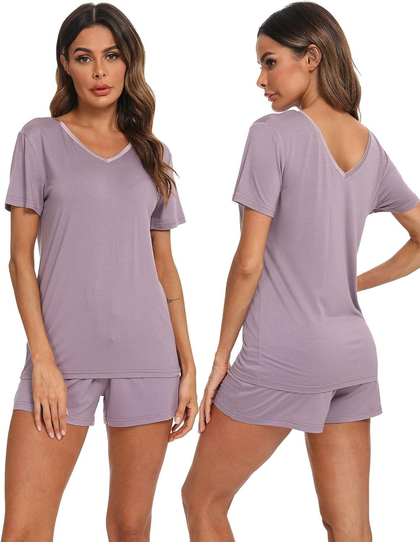 Hefunige Womens Short Sleeve V Neck Pajama Sets Shorts Sleepwear Petite Plus Size S-4XL