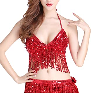 Womens Glitter Sequin Tassel Halter Crop Top Sexy Latin Belly Dance Sequin Bra Party Club Wear Costume