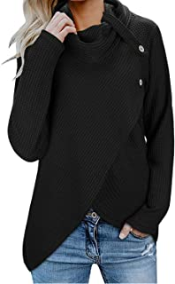 Womens Cowl Neck Sweatshirts Waffle Knit Wrap Long Sleeve Asymmetric Sweaters Tops with Buttons