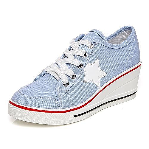 Womens Canvas Wedge Heeled Platform Fashion Sneaker Pump Shoes