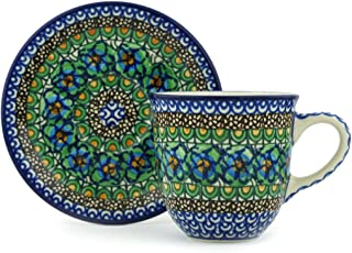 Polish Pottery 9 oz Cup with Saucer made by Ceramika Artystyczna (Mardi Gras Theme) Signature UNIKAT + Certificate of Authenticity