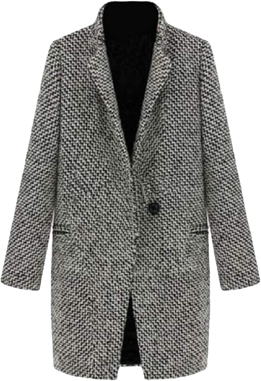 color&W Womens Fall Winter One Button Thick Turn Down Collar Trench Coat Outwear