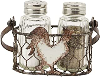 Ebros Gift Galvanized Metal Rustic Vintage Farm Milk Wire Basket Crate With Chicken Rooster Sign Salt And Pepper Shakers Display Holder Set 5.25