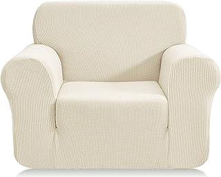 E EBETA Funda de sofá, Tejido Jacquard de poliéster y Elastano, Funda de Clic-clac elástica Cubiertas de sofá de 1 Plaza (Marfil, 85-115 cm)