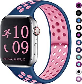 Zekapu Compatible with Watch Band 44mm 42mm, for Women Men, S/M, Breathable Silicone Sport Replacement Wrist Band Compatible for iWatch Series 5/4/3/2/1,Ocean-Pink