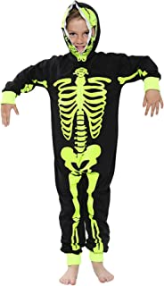 Kids Girls Boys Skeleton Print A2Z Onesie One Piece Halloween Costume 5-13 Years