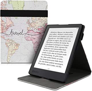 kwmobile Cover for Kobo Aura H2O Edition 2 - PU Leather e-Reader Case with Built-in Hand Strap and Stand - Black/Multicolor