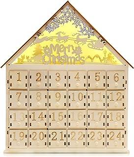 LOKIPA クリスマス カウントダウン 木製 24個の引き出し LEDライト付き プレゼント 24日間 ギフト 子供 Merry Christmas