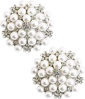 ElegantPark Fashion Rhinestones Pearls Flowers Crystals Wedding Party Shoe Clips