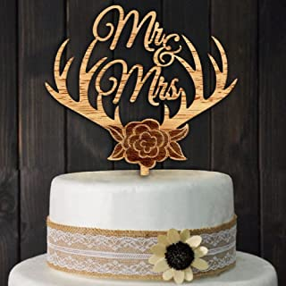 Mr and Mrs Cake Toppers Rustic Flower Tree Wood Wedding Party Engagement Decoration