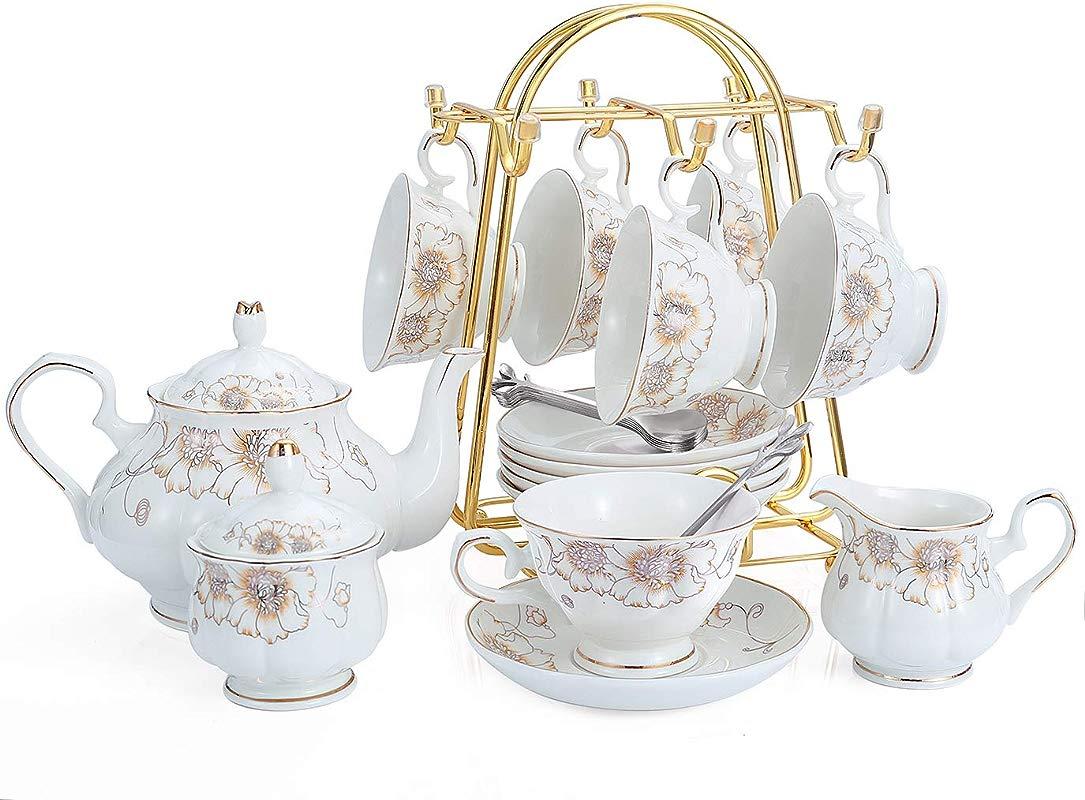 21 Piece Porcelain Ceramic Tea Gift Sets Cups Saucer Service For 6 Teapot Sugar Bowl Creamer Pitcher And Teaspoons