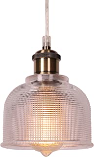CO-Z 5.75 Inch Industrial Hanging Pendant Ceiling Light with Textured Ribbed Glass Shade, Antique Brass & Brushed Nickel Dimmable Lamp for Kitchen Island, Dining Room, Hallway, or Bedroom, UL-Listed