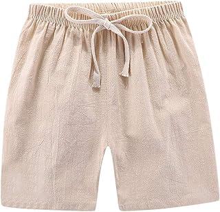 Pantalones para niños, Verano para niños, niños y niñas, Pantalones Cortos Casuales de Lino, Pantalones de Cintura elástic...