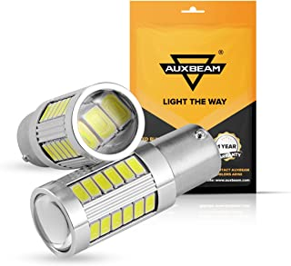 Auxbeam Extremely Bright 1156 P21W BA15S LED Light Bulbs 800LM 33Pcs 5630 SMD LED Bulb with Projector for Back Up Reverse Lights (White)