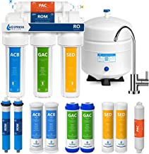 Express Water Reverse Osmosis Water Filtration System – 5 Stage RO Water Purifier with Faucet and Tank – Under Sink Water Filter – Plus 5 Replacement Filters – 50GPD