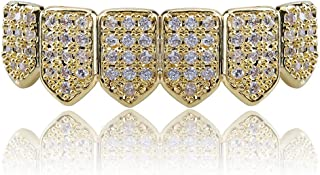 18K Gold Plated Macro Pave CZ Iced-Out Grillz with Extra Molding Bars Included