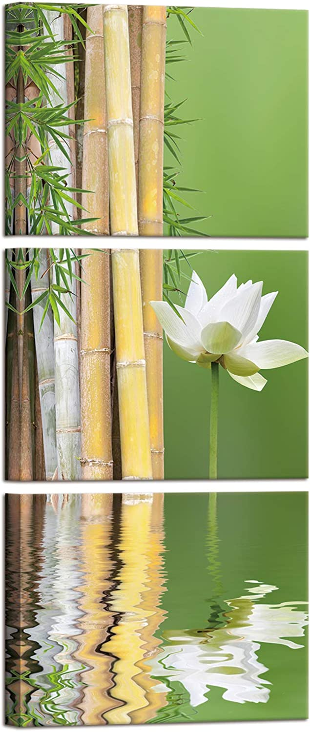 iKNOW FOTO Canvas Wall Art White Lotus and Zen Green Bamboo Picture Modern Wall Decor Gallery Canvas Wraps Giclee Print Stretched and Framed Ready to Hang Each Panel 12x16
