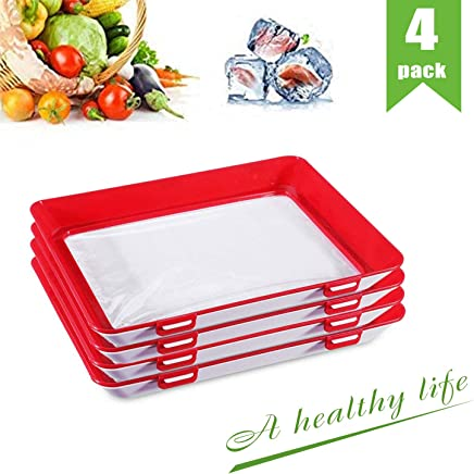 Food Plastic Preservation Tray, Healthy Creative Tray Kitchen Tools, 2019 New Healthy Seal Storage Container for Keep Food Fresh (4Pack)