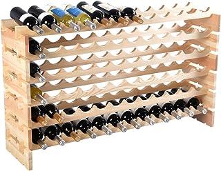 RELAX4LIFE Étagère à Vin Empilable Stable en pin pour 72 Bouteilles,Porte-Bouteilles modulable,Meuble de Rangement pour vi...