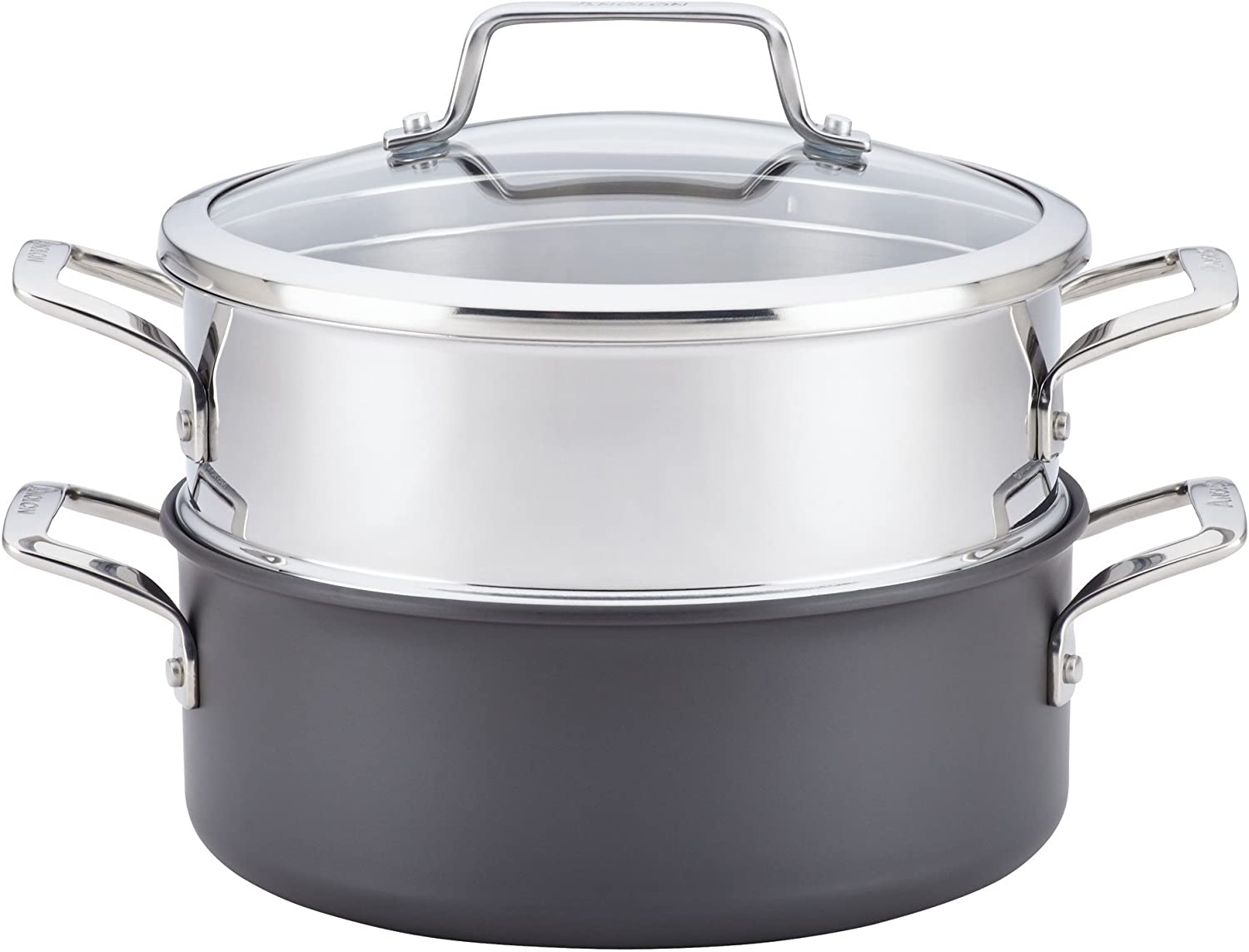 Gray Anolon 81059 Authority Hard Anodized Nonstick Covered Dutch Oven with Steamer Insert 5 quarts