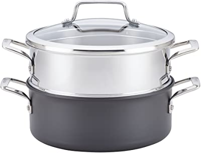 Anolon Authority Hard-Anodized Nonstick Covered Dutch Oven with Steamer Insert, 5-Quarts, Gray