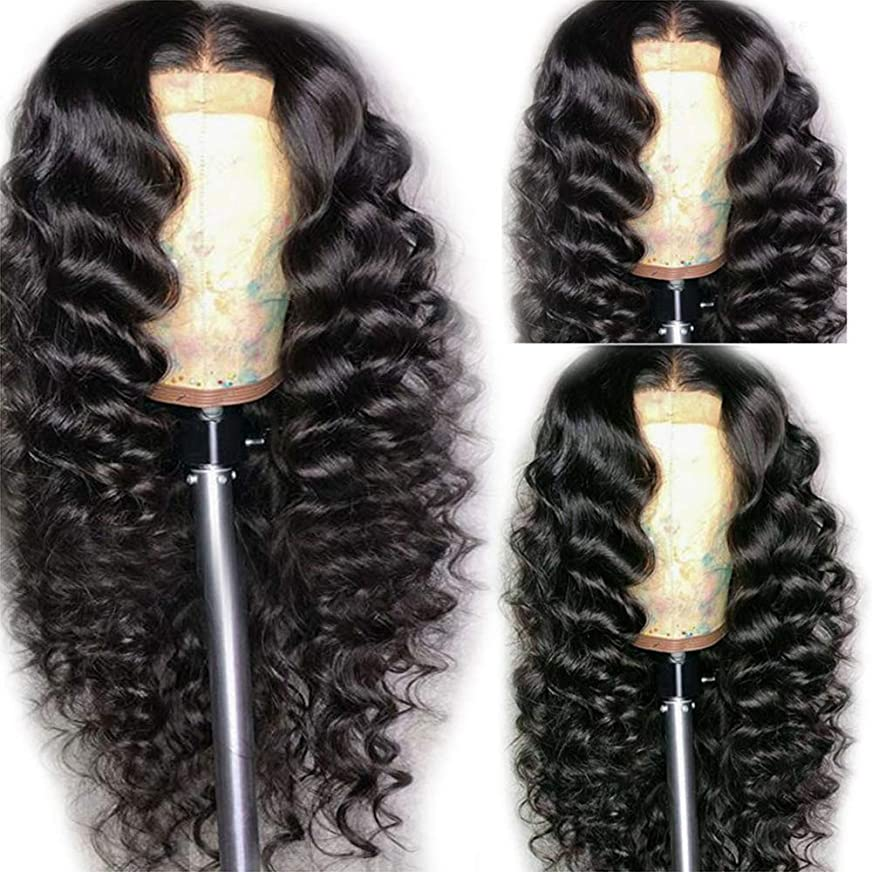 勇者追放する円形の女性ブラジル人かつら実体波180%フル密度赤ちゃんの毛髪未処理の人間の毛髪の黒 62cm