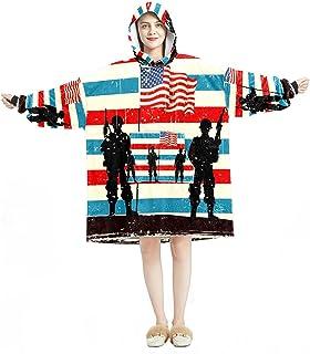 Oversized Hoodie Blanket Sweatshirt, Sherpa Flannel Wearable Blanket Hoodies with Pocket for Adults Men Women, American So...