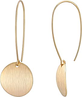 Circle Disc Dangle Drop Earrings Long Hoops Geometric Brushed Gold Round Curved 18K Gold Filled Everyday Jewelry for Women
