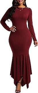 VERWIN Mermaid Long Sleeve Falbala Women's Maxi Dress Pullover Plain Elegant Sweater Dress