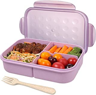 Kids Bento Box,Kids Children Lunch Box,4 Compartments Lunch Containers for Kids,Leakproof Bento Box for Kids,Microwave/Freezer/Dishwasher Safe (Flatware Included) (Purple)