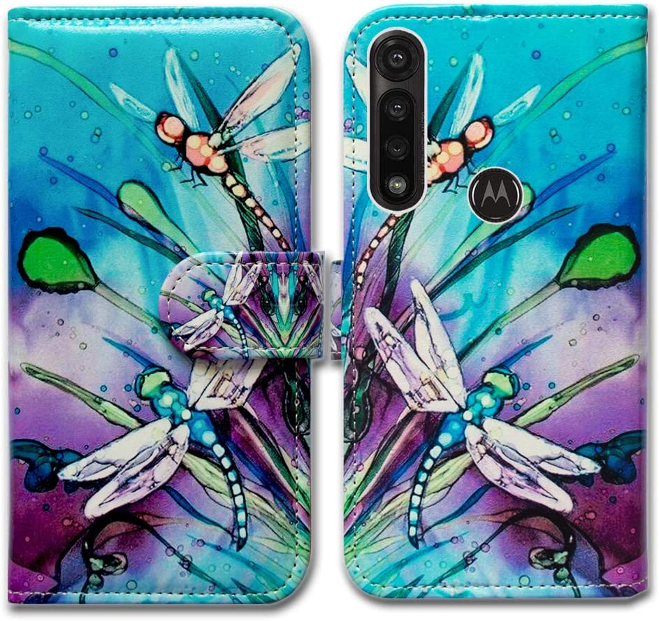 Moto G Power 2020 case,Motorola G Power case,Bcov Cute Dragonfly Leather Flip Wallet Case Cover with Card Slot Holder Kickstand for Motorola Moto G Power