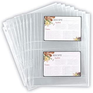 Samsill 4x6 Recipe Card Protectors/Recipe Organizer/Clear Protector Sheets/Splatter Proof / 2 to 4 Recipe Cards Per Sheet/Fits Standard 3 Ring Binders / 25 Pack