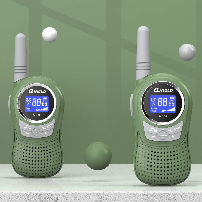 PMR 8 Kanal Kinder Funkger/ät mit Wiederaufladbaren Akkus 1 Einheit QNIGLO Walkie Talkie Set f/ür Kinder