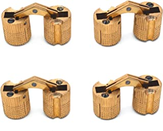 Antrader 4-Pack 14mm Hidden Brass Barrel Hinges Cylindrical Invisible Concealed Furniture Hinges 180 Degree Opening Angle