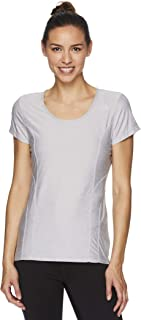 Reebok Women`s Gym & Workout T-Shirt - Dynamic Fitted Performance Short Sleeve Athletic Top