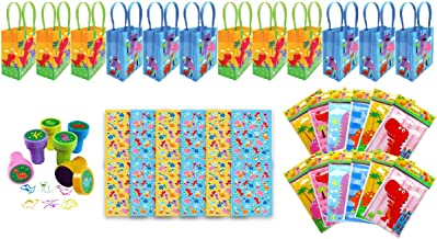 TINYMILLS Dinosaur Birthday Party Favor Set of 60pcs (12 Treat Bags, 24 Stampers, 12 Sticker Sets, 12 Coloring Books with crayons)