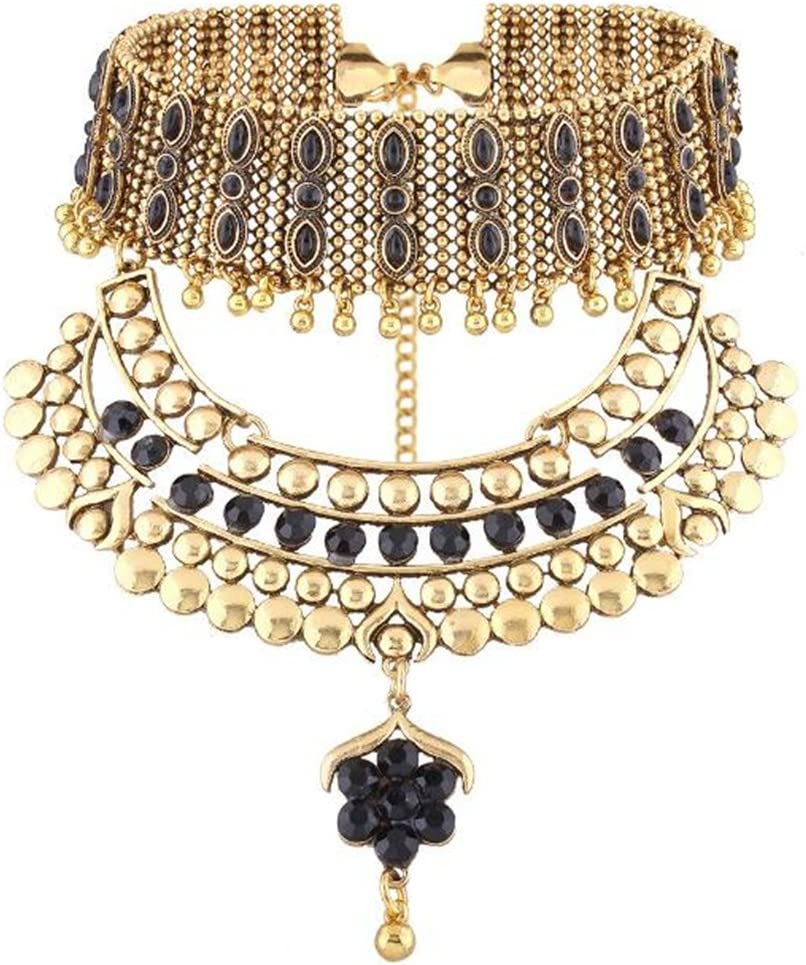 Lanue Vintage Resin Alloy Choker Collar Necklace Ethnic Exaggerate Pendant Women Jewelry (Gold)