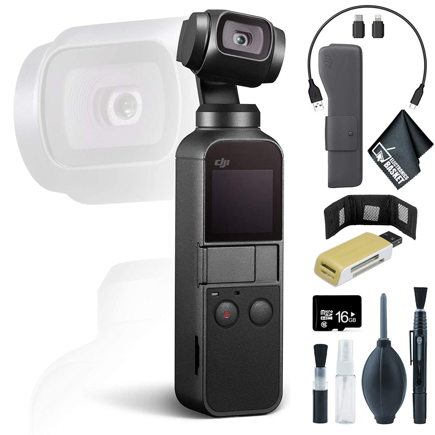 DJI Osmo Pocket Gimbal + Memory Card Wallet + USB Card Reader, SD/microSD + 16GB microSD Memory Card and More