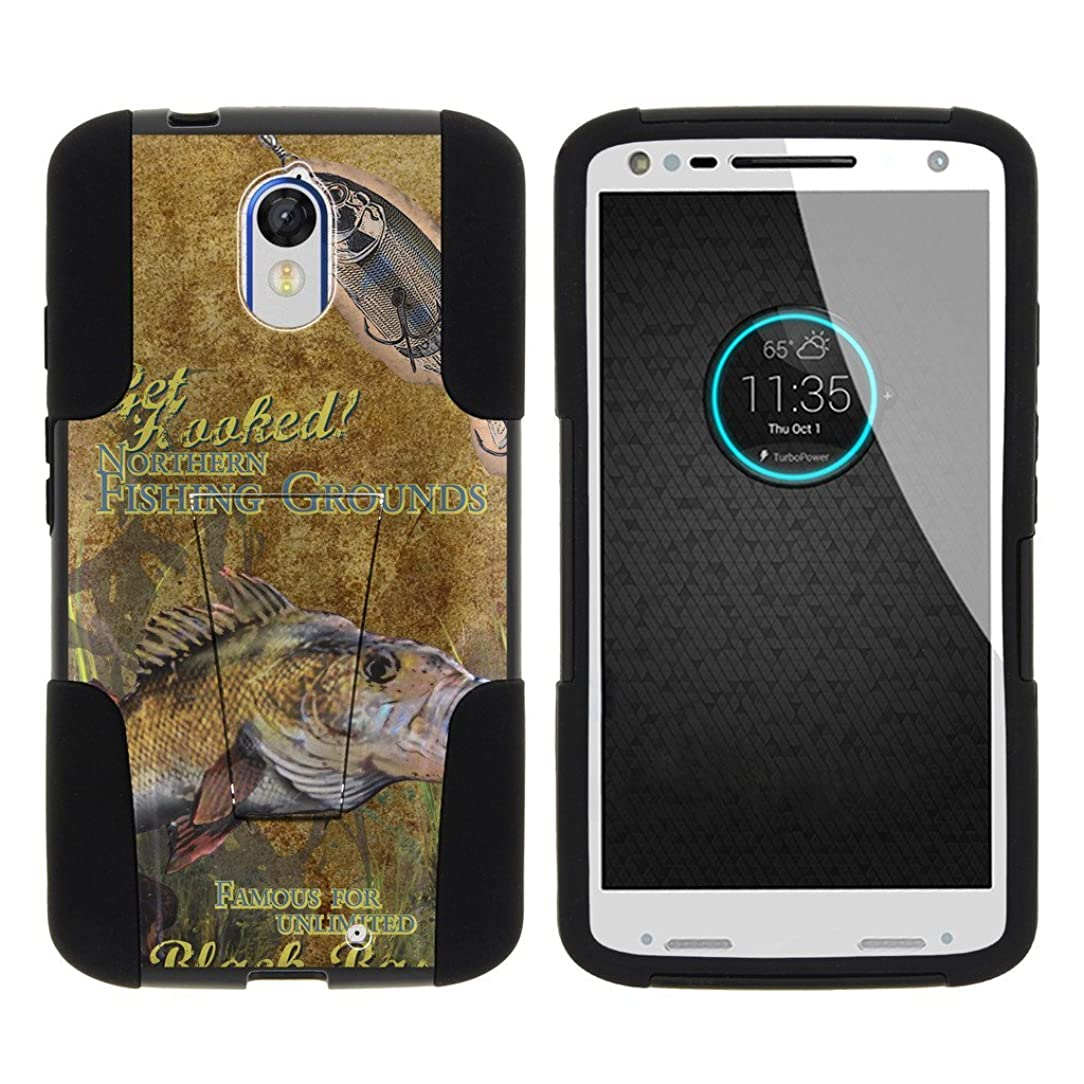 MINITURTLE Case Compatible w/Motorola Droid Turbo 2 Case, Moto X Force Cover, Kinzie Case [Strike Impact] Dual Layer Hard Plastic Rugged Shell Soft Silicone w/Stand Big Bass Fishing